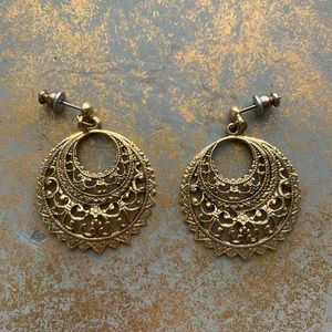 Stunning Vintage Open Circle Filigree Earrings